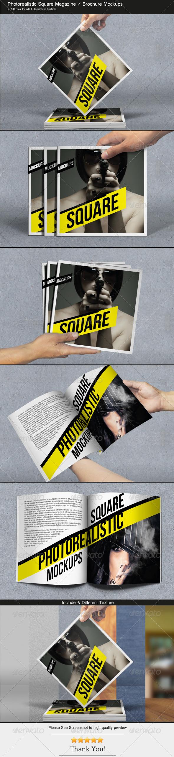 Square Magazine / Brochure Mockups - Brochures Print