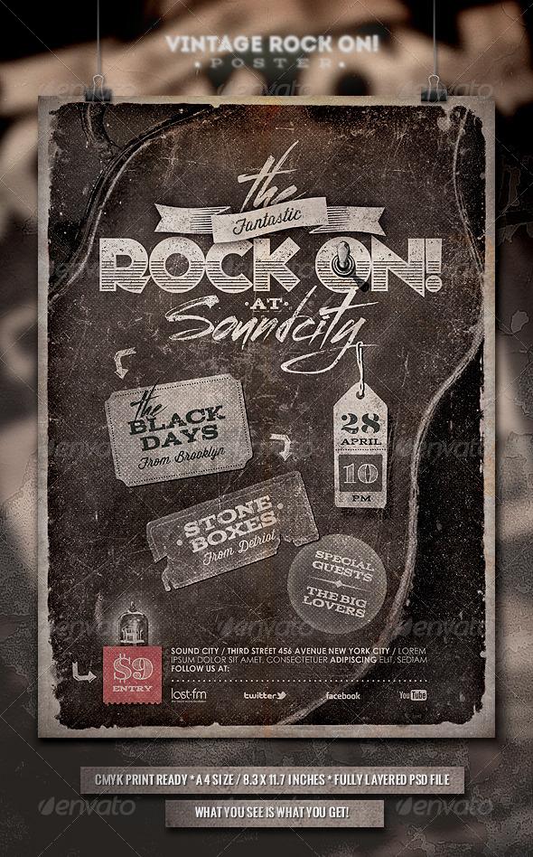 Rock On! Vintage Poster/Flyer - Concerts Events