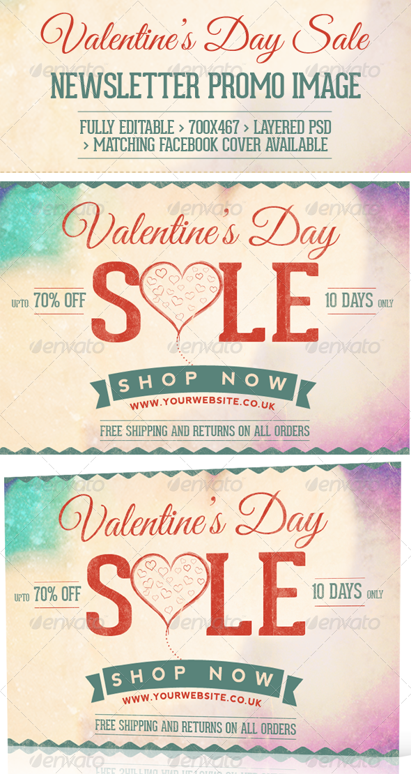 Valentine's Day Sale  Newsletter Promo Image - E-newsletters Web Elements