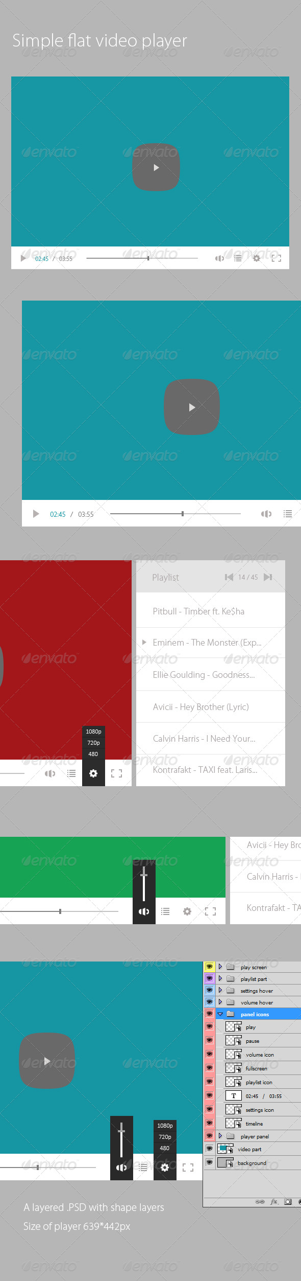 Flat Video Player (PSD) - User Interfaces Web Elements