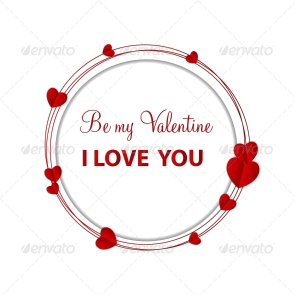 Happy Valentines Day Card with Heart. Vector Illustration - Valentines Seasons/Holidays