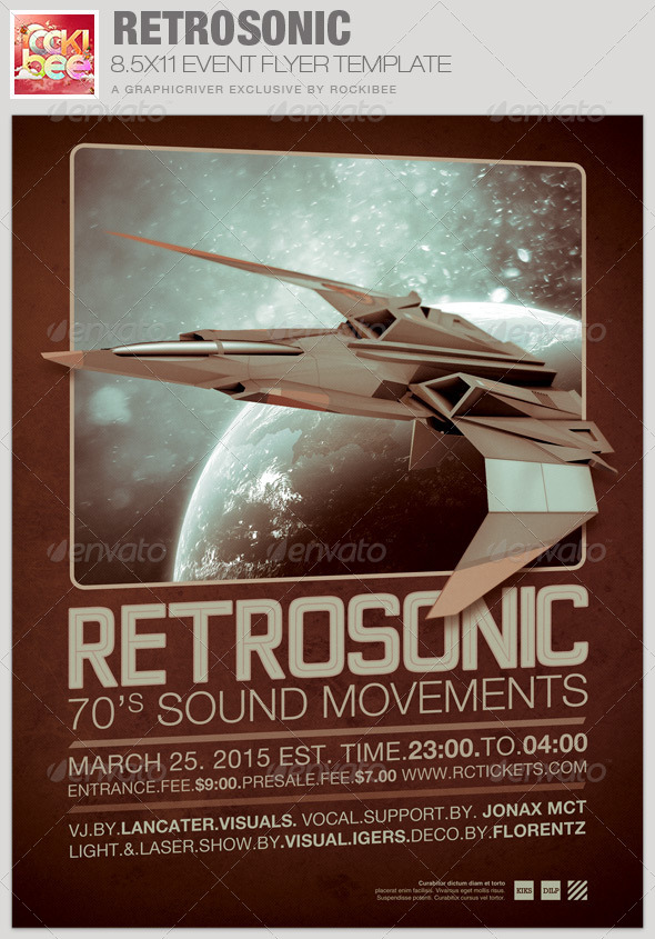 RetroSonic Event Flyer Template - Events Flyers