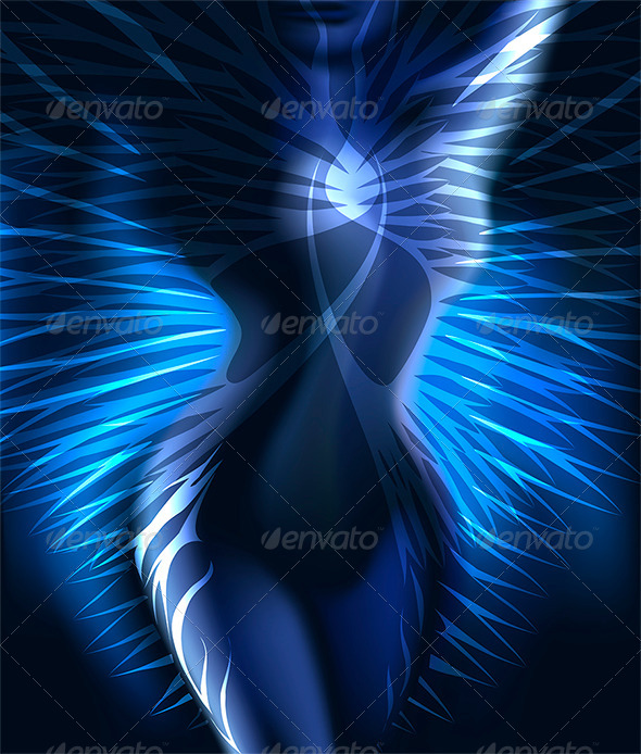 The Winged Body in Blue - People Characters
