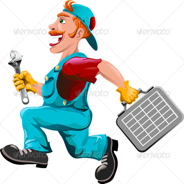 The Hurrying Plumber - Characters Vectors