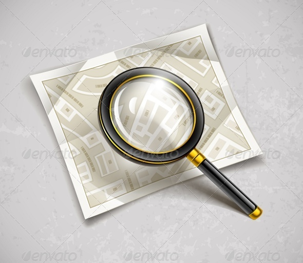 Loupe Magnifying Glass Tool with Streets Map - Man-made Objects Objects