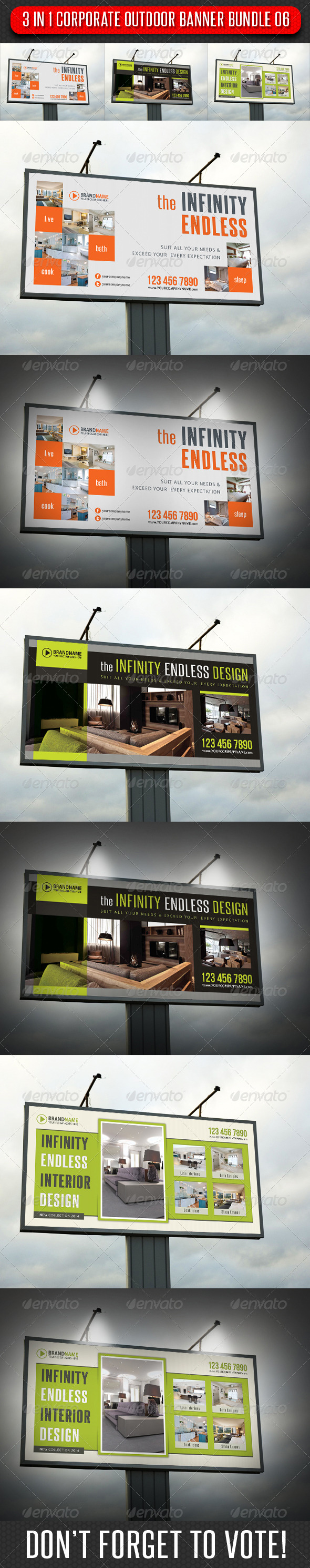 3 in 1 Corporate Outdoor Banner Bundle 06 - Signage Print Templates