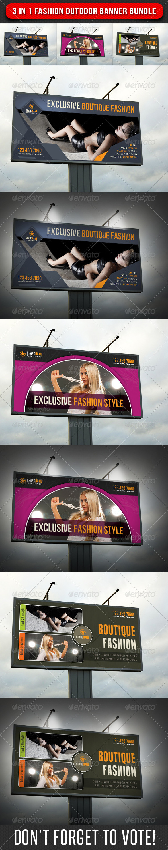 3 in 1 Fashion Outdoor Banner Bundle 01 - Signage Print Templates