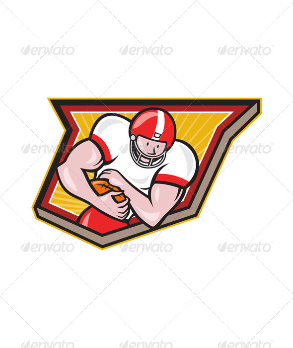 American Football Running Back Run Shield Cartoon - Sports/Activity Conceptual