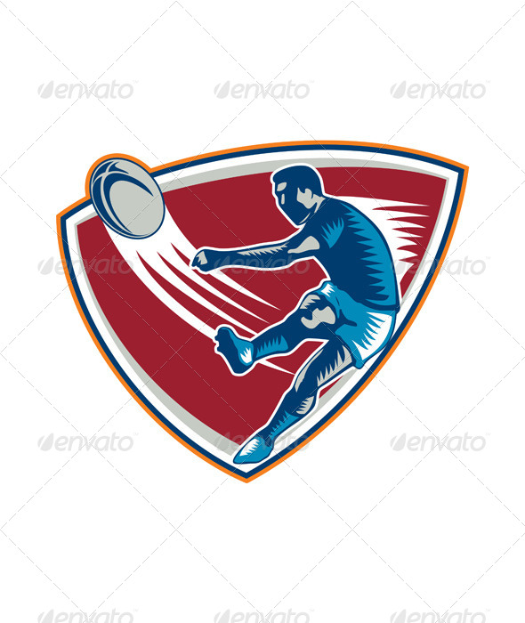 Rugby Player Kicking Ball Shield Woodcut - Sports/Activity Conceptual