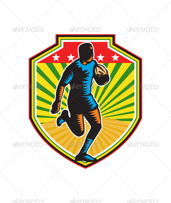 Rugby Player Running Ball Shield Retro - Sports/Activity Conceptual