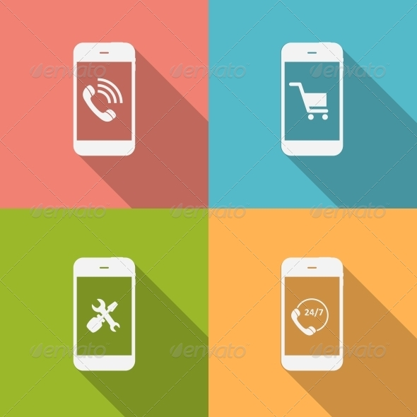 Concept on Different Mobile Phote Icons. Vector Il - Web Technology
