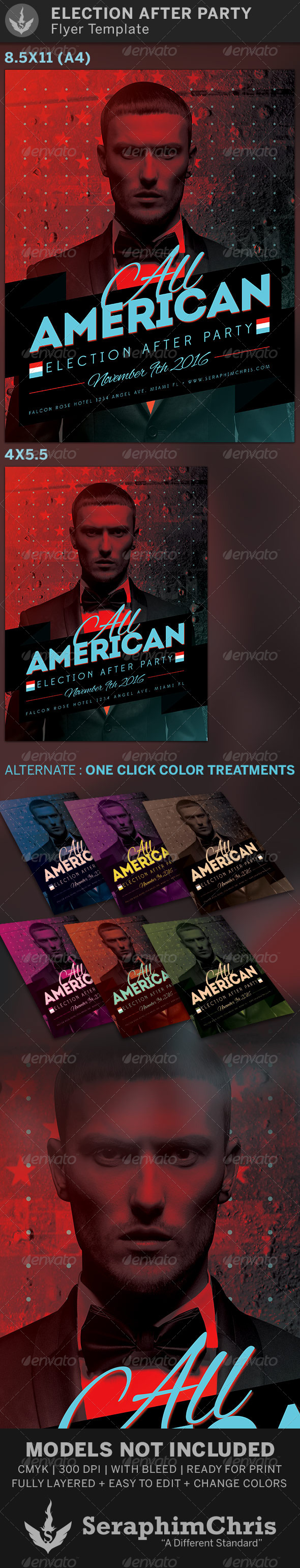 All American Election After Party Flyer Template - Events Flyers