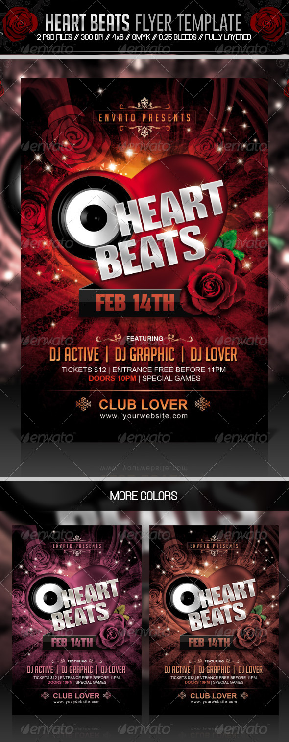 Heart Beats Valentines Party Flyer - Clubs & Parties Events
