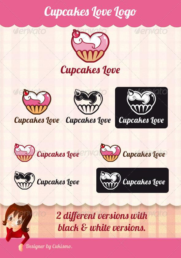 Cupcakes Love Logo - Vector Abstract