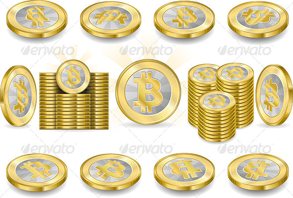 Set of One Bitcoins Isolated on White  - Business Conceptual