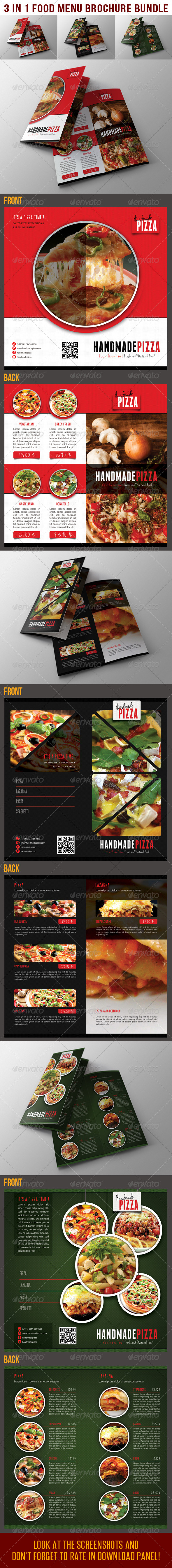 3 in 1 Food And Pizza Bifold Brochure Bundle 02 - Catalogs Brochures