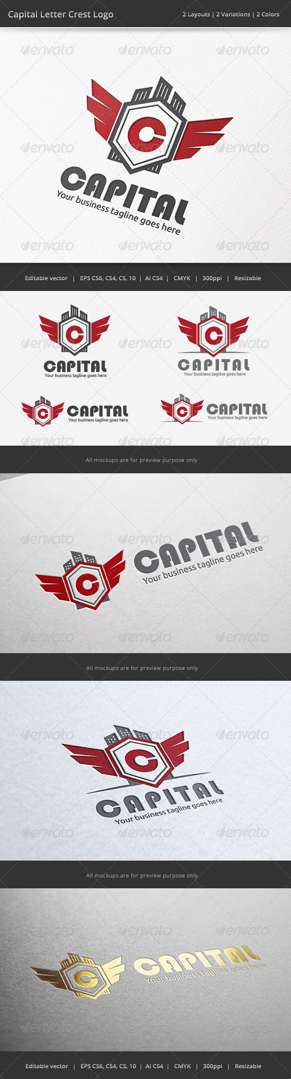 Capital Letter Crest Logo - Crests Logo Templates