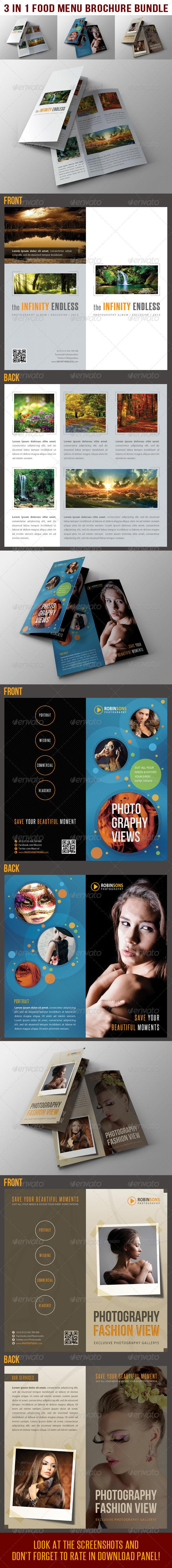 3 in 1 Photography BiFold Brochure Bundle 02 - Catalogs Brochures