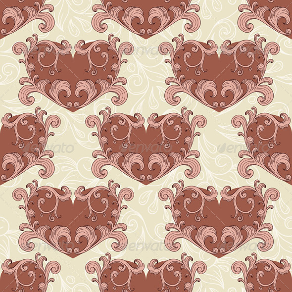 Vector Valentine's Seamless Romantic Background - Patterns Decorative
