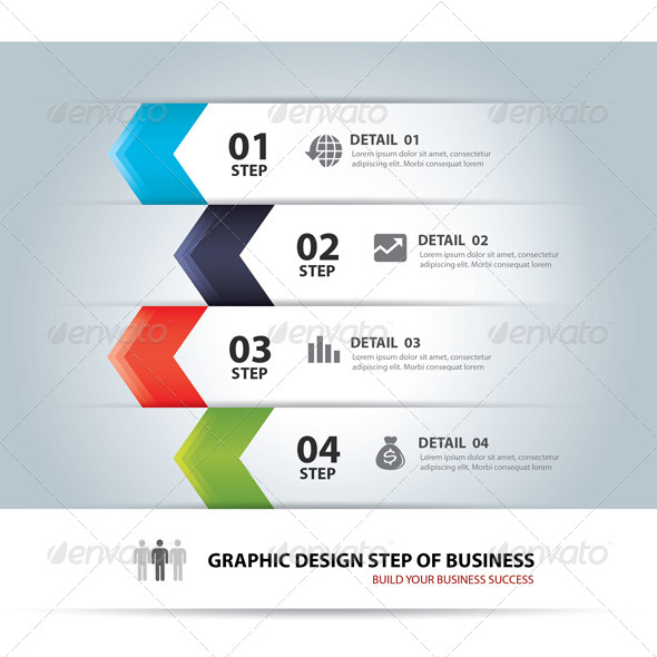 Business Step Chart and Numbers Design Template - Infographics