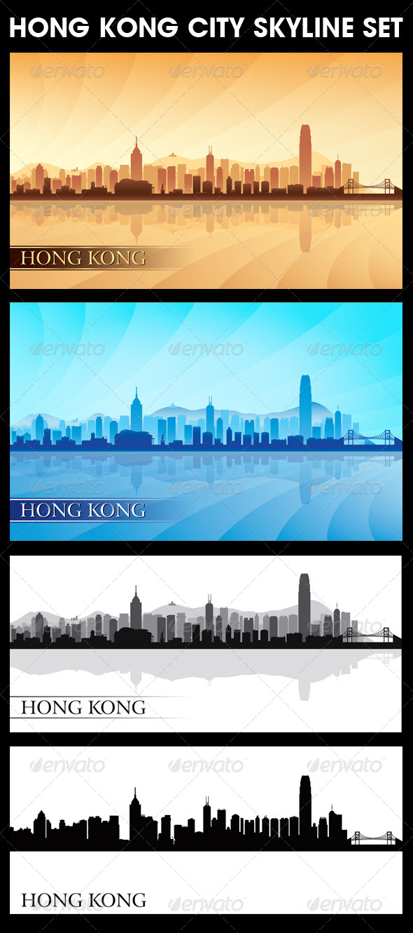 Hong Kong City Skyline Silhouettes Set - Backgrounds Decorative