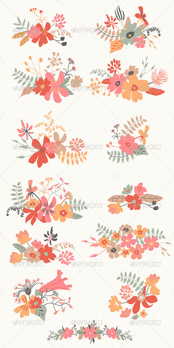 Set of Graphic Floral Design - Flowers & Plants Nature