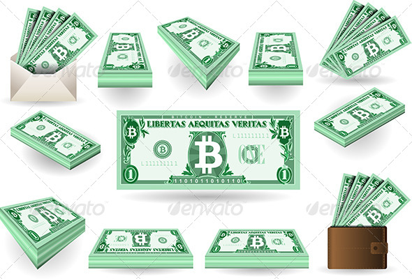 Set of One Bitcoins Banknotes - Business Conceptual