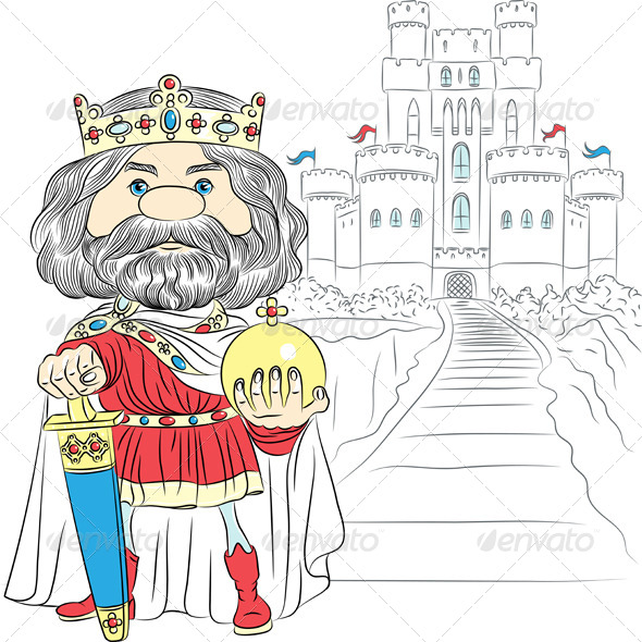 Vector Cartoon King Charles the First in the Crown - People Characters