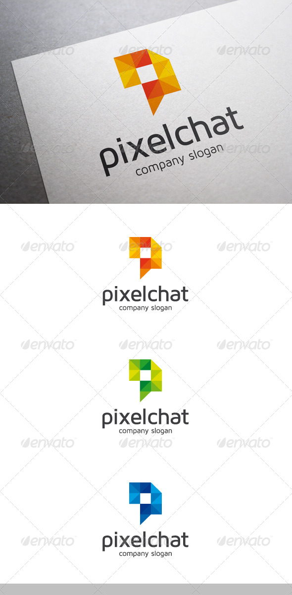 Pixel Chat Logo - Abstract Logo Templates