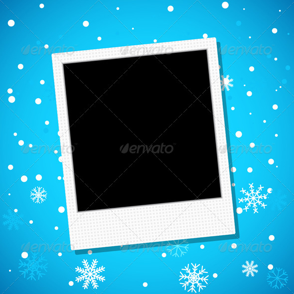 Photo Frame on a Snowy Background - Backgrounds Decorative