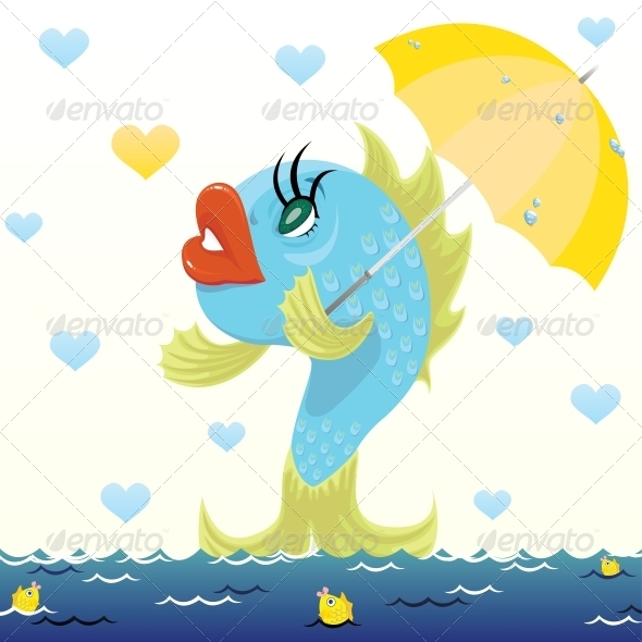 Cartoon Fish with Umbrella - Valentines Seasons/Holidays