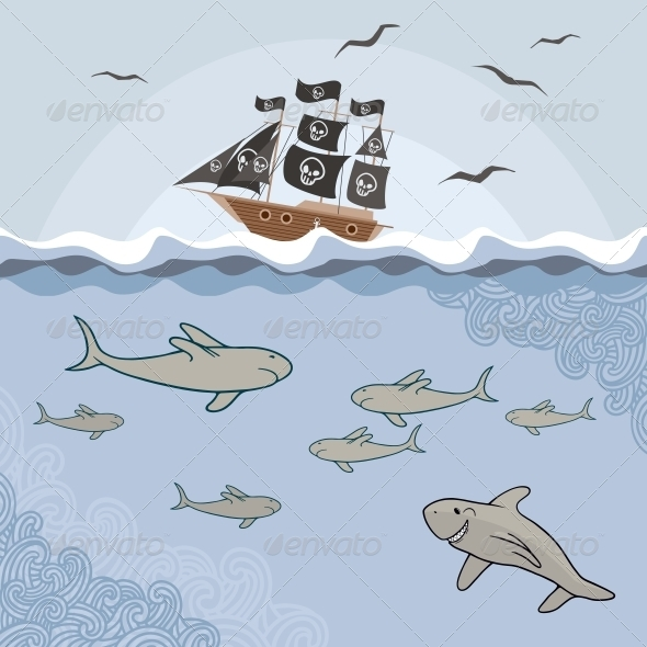 Template with Cartoon Sharks - Animals Illustrations