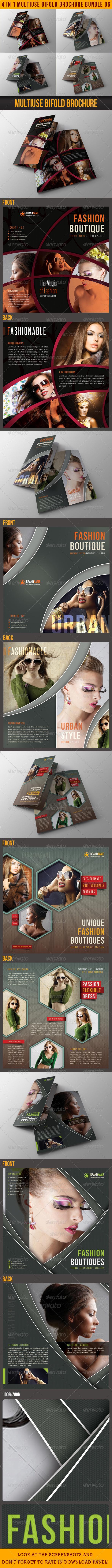 4 in 1 Fashion Multiuse Bifold Brochure Bundle 06 - Catalogs Brochures