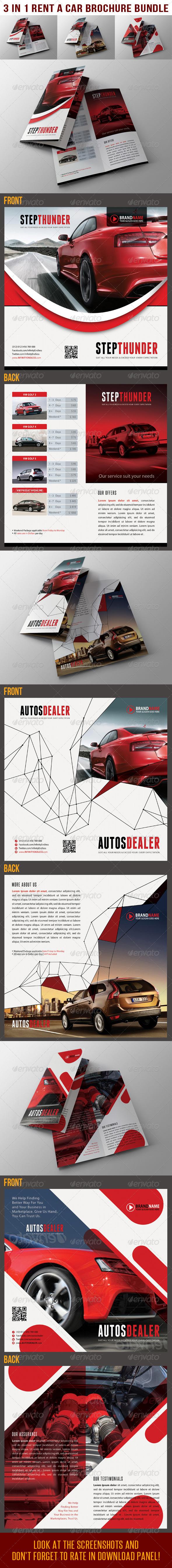 3 in 1 Rent A Car BiFold Brochure Bundle 02 - Catalogs Brochures