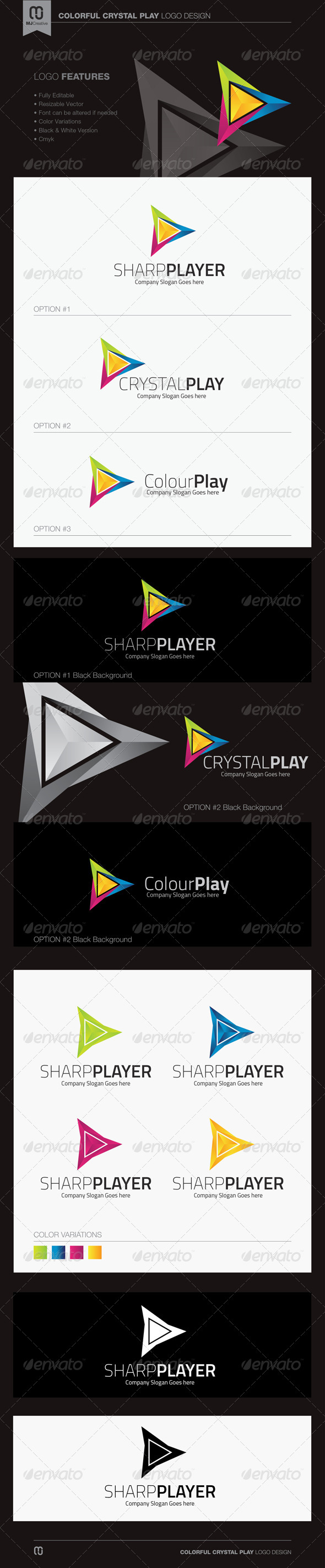 Colorful Crystal Play Logo - Vector Abstract