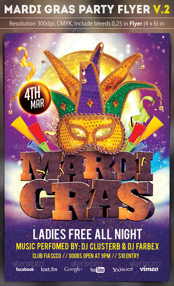 Mardi Gras Party Flyer v.2 - Clubs & Parties Events
