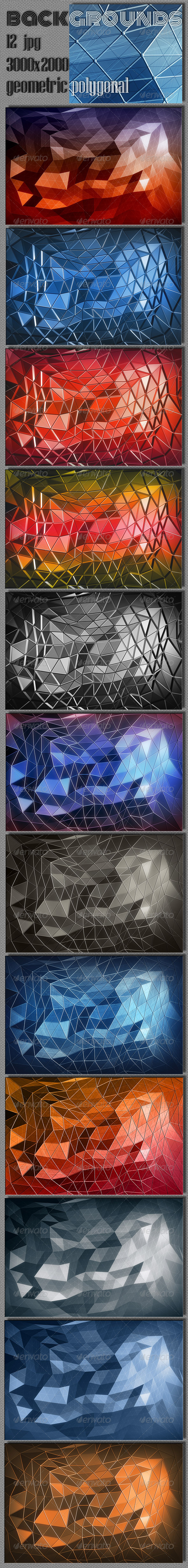Polygonal Geometric Backgrounds - Abstract Backgrounds