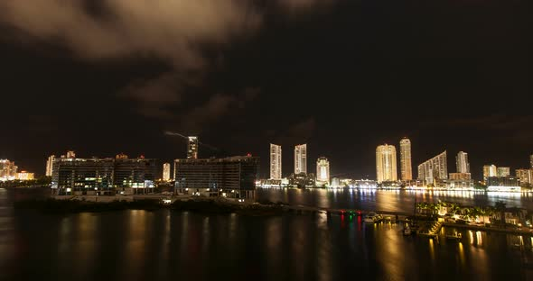 miami skyline at night with clouds 03 by nyc media group