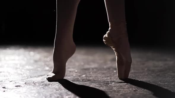 Female Slim Legs Standing in Pose in Spotlight on Black Background in Studio