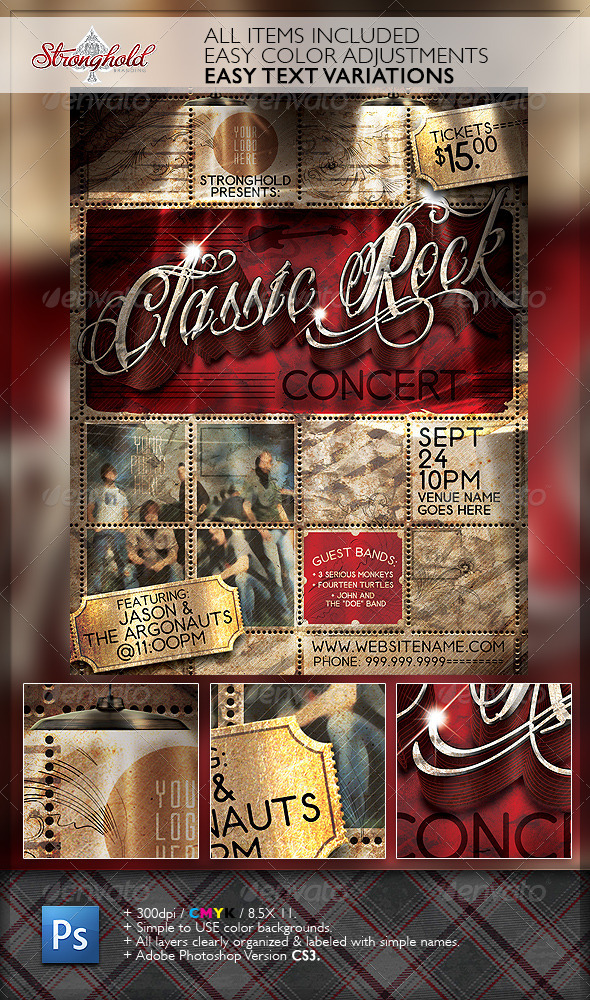 Vintage Rock Concert Flyer Template - Flyers Print Templates