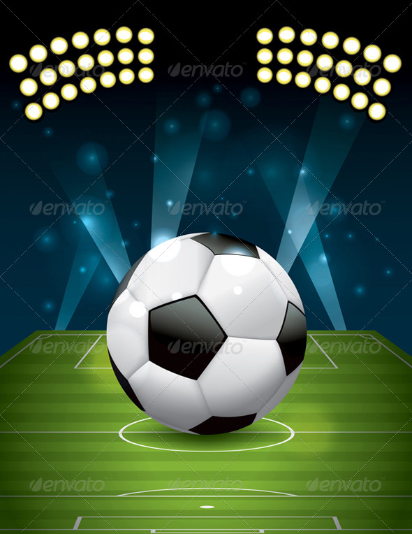 Vector Football - Soccer Ball on Field - Sports/Activity Conceptual