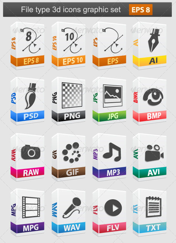 File type 3d icons. - Software Icons