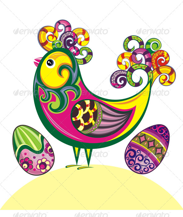 Easter Card with Chicken - Seasons/Holidays Conceptual