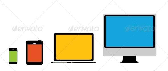 Computing Concept on Different Electronic Devices. - Computers Technology