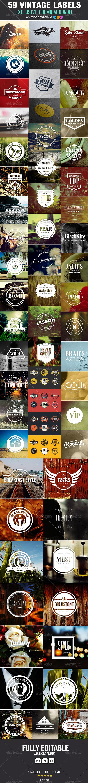Premium Bundle 59 Vintage Labels & Badges - Badges & Stickers Web Elements