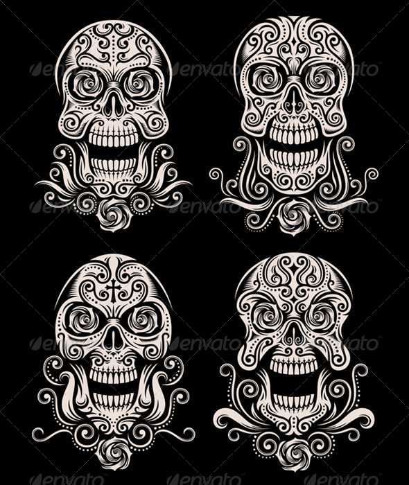 day of the dead skull tattoo vector set by vectorfreak graphicriver. Black Bedroom Furniture Sets. Home Design Ideas