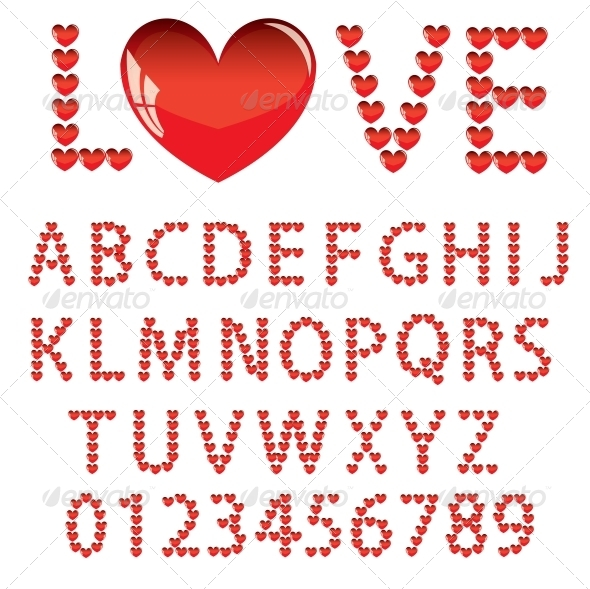 Love Alphabet - Web Elements Vectors