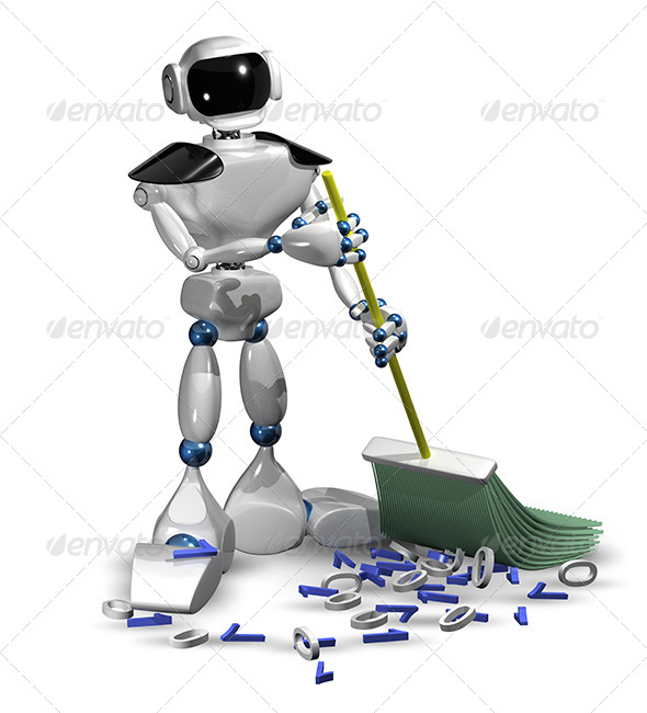 Robot with a Broom - Objects 3D Renders
