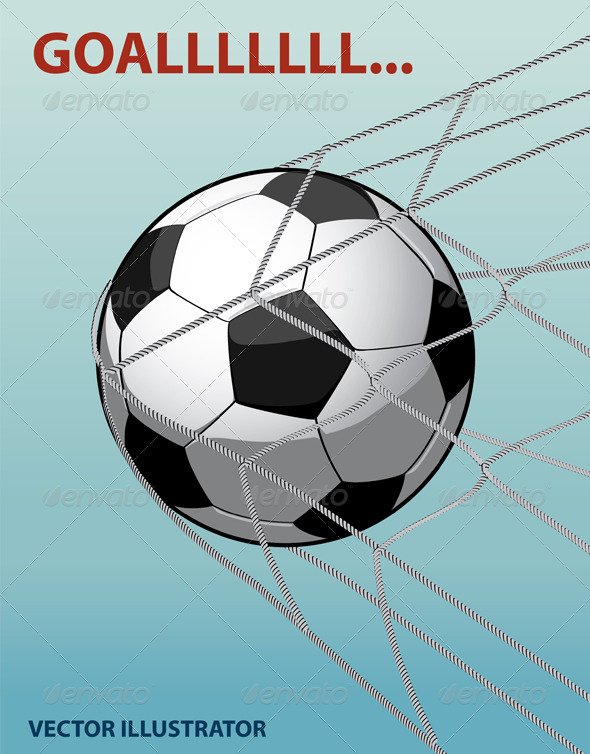 Soccer Ball in The Goal Net on The Blue Background - Vectors