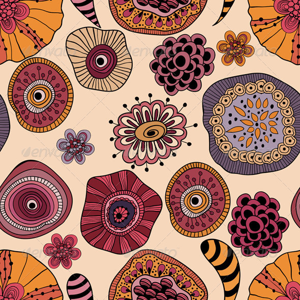 Vector Abstract Seamless  Floral Composition - Patterns Decorative